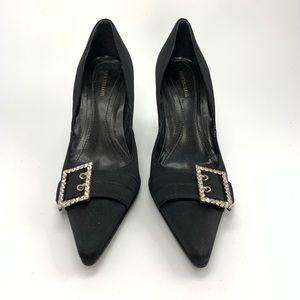 Ann Taylor Black satin heels